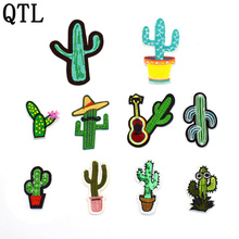 10PCS Mixed cactus series patches for clothing iron on embroidered appliques DIY apparel accessories patch