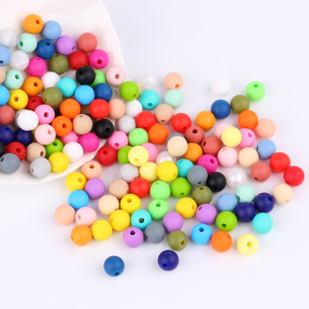 100pcs 9mm Round Silicone Beads BPA Free FDA Approved Silicone Teething Beads Baby Chew Necklace Pacifier Chain Accessories