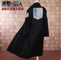 Coat Top Cosplay Costume Trench Anime Attack on Titan Scout Regiment Scout Legion Black Cloak long sleeve Christmas Halloween