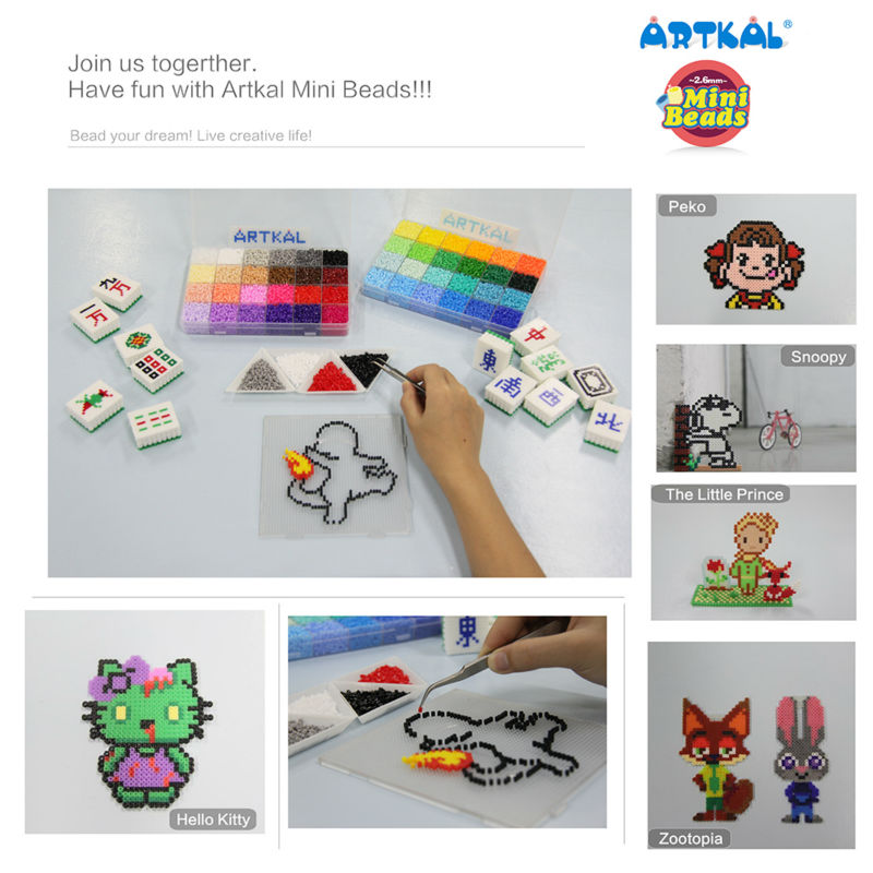 Image 2 - 48 Color Artkal Beads A 2.6mm Perler Beads Diy Pixel Arts Handmade Creative Jewelry Gift CA48-in Puzzles from Toys & Hobbies