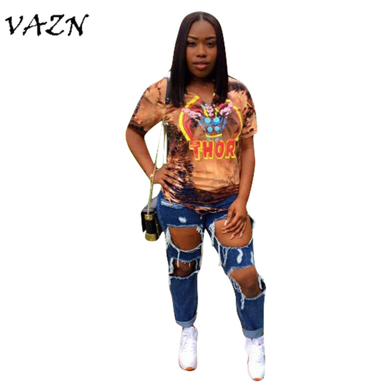 VAZN Special Design 2018 New Popular Style Women T-shirt Novelty Print Short Sleeve Hollow Out Bodycon Women Tees L5177