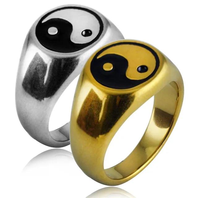 7 to 13 size Tai chi Yin Yang Gossip Ring Male Stainless Steel Epoxy Punk Rings For Men Women Finger Enamel Statement Jewelry
