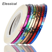 Elessical 8pcs/lot 2mm Laser Nail Striping Tape Line Women H