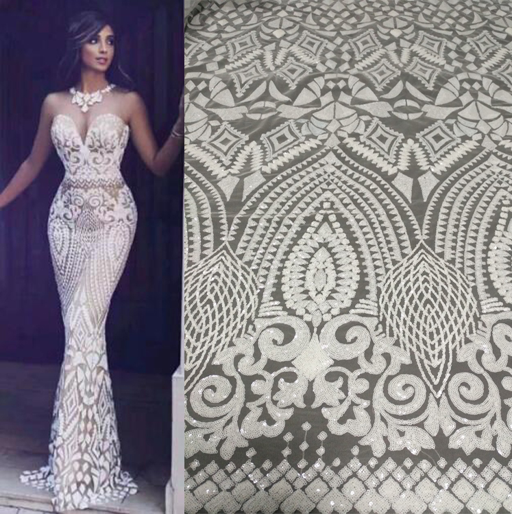 Apparel Sewing & Fabric New Design African Lace Fabric High Quality French Sequins Embroidery Chiffon Lace Fabric Wedding
