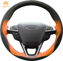 MEWANT Black Orange Leather Black Suede Car Steering Wheel Cover for Ford Fusion Mondeo 2013 2014 EDGE 2015 2016
