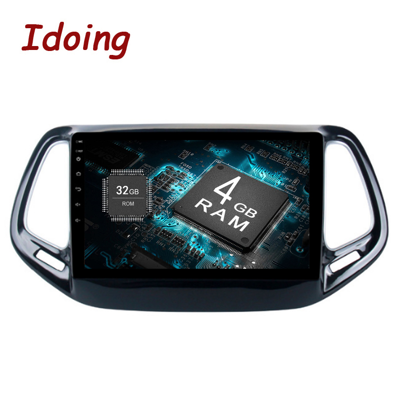 "Idoing 1Din 10.2"" ForJeep Compass 2017 Android 8.0 8Core 4GB+32GB Steering-Wheel Car GPS Player GPS Navigation Fast Boot NAVI 4G"