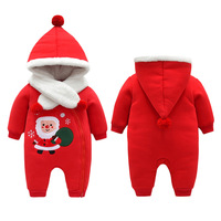 2019 New Born Baby Christmas Clothing Newborn Baby Climbing Romper Suits Girls Winter Romper Cotton Pajamas Thick Outfit Hooded