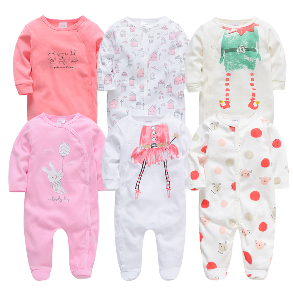 2020 6Pcs 3PCS Baby Girls Rompers Long Sleeve Cute Summer Baby Clothes Cotton Newborn 0-12 Months Roupa De Bebe Jumpsuit Outwear
