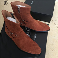 High Top Handmade Western Ankle Strap Chelsea Wedge Boots Dark Brown Suede Wyatt Cowboy Martin Boots