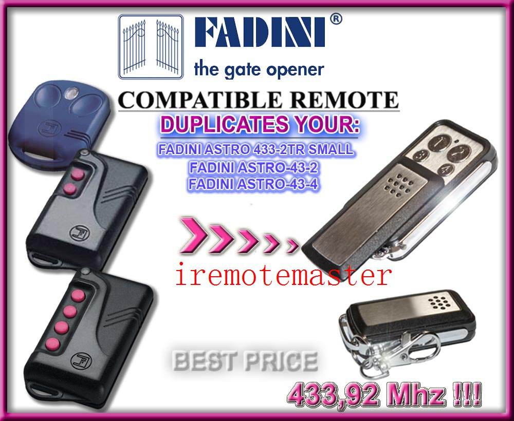2pcs For FADINI ASTRO 433-2TR SMALL, ASTRO-43-2,ASTRO-43-4 remote control fixed code free shipping astro city vol 14