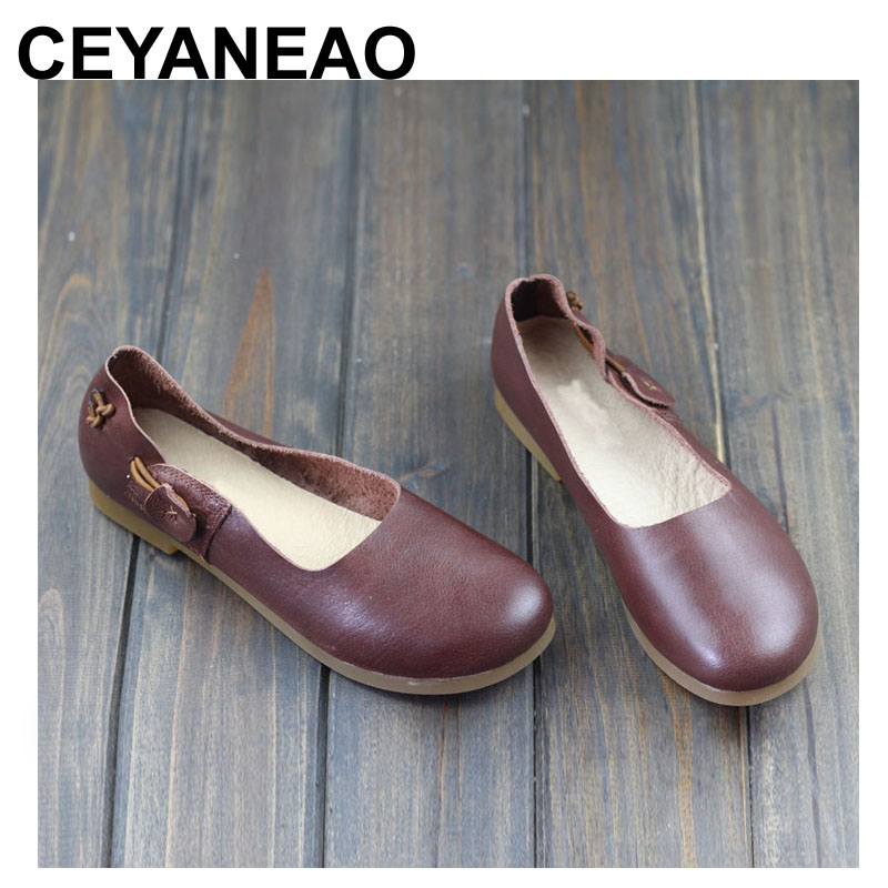 CEYANEAO Women Flat Shoes 1005 Genuine Leather Ballerina Flats Round toe Slip on Ballet Flats Spring/Autumn Footwear (968-8)CEYANEAO Women Flat Shoes 1005 Genuine Leather Ballerina Flats Round toe Slip on Ballet Flats Spring/Autumn Footwear (968-8)