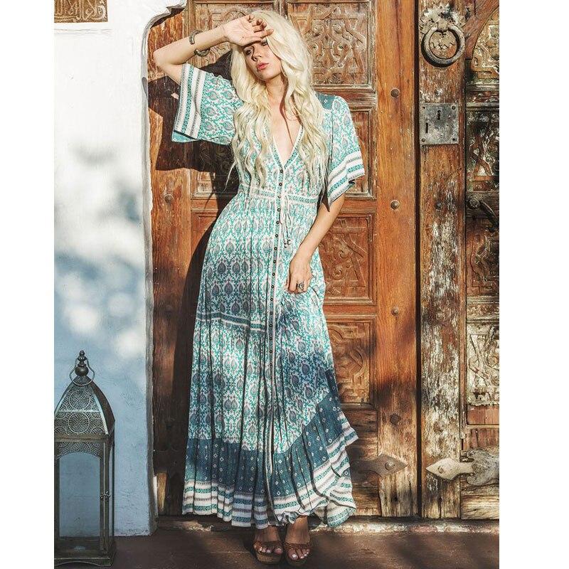 2019 été femmes fête Hippie Vestidos gitane robes collectives Boho Oracle imprimer Maxi robes à volants ourlet décontracté robe de plage