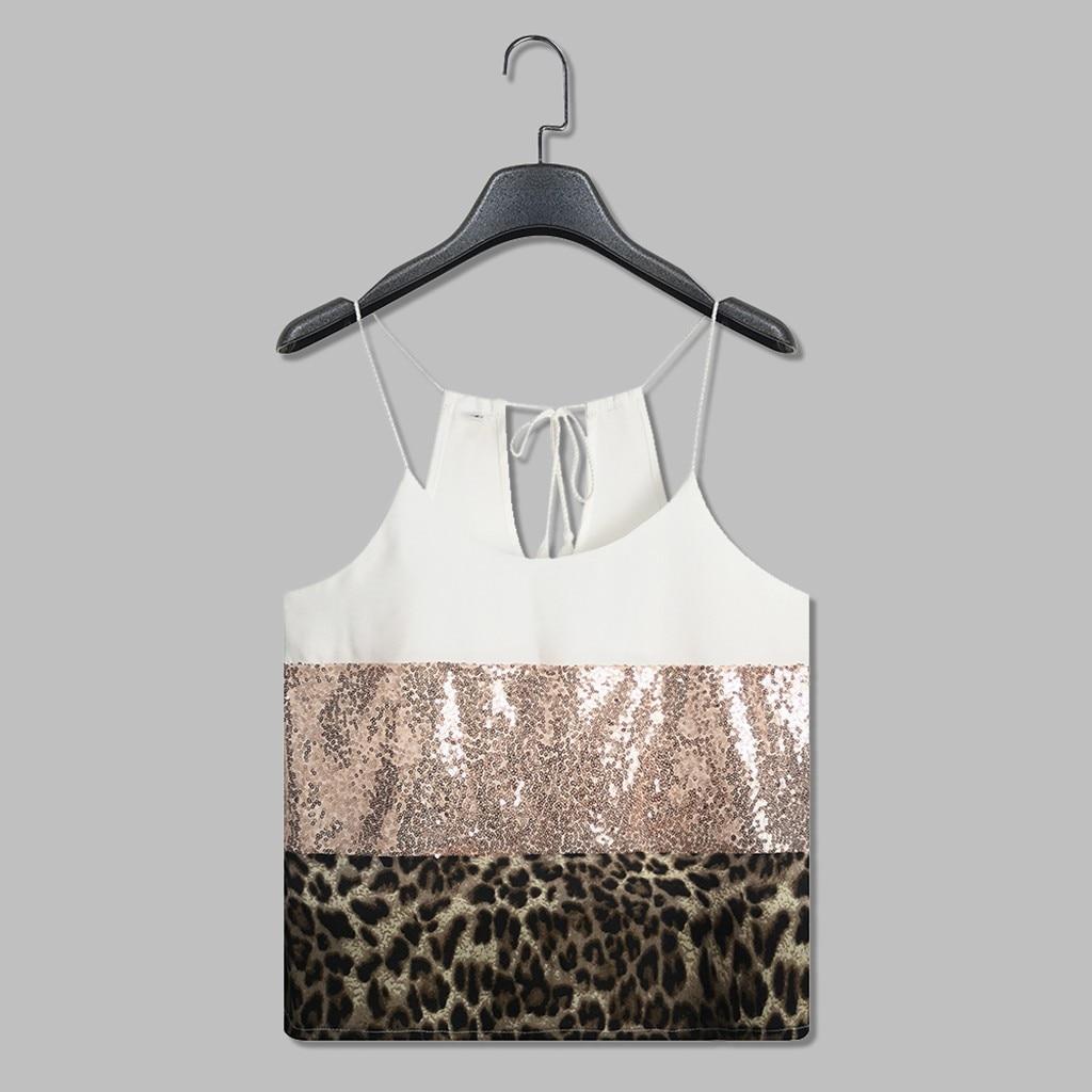 #40 Crop Top Womens Tank Top Pacthwork Leopard Print Sequin Sleeveless Vest Tee Casual Tank Cropped Feminino Crop Top Mujer