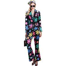 HIGH QUALITY Fashion Women Spring Autumn Pants Suits Print Blazer Flare Trousers Runway Slim Workwear 2 Pieces Sets Outfits