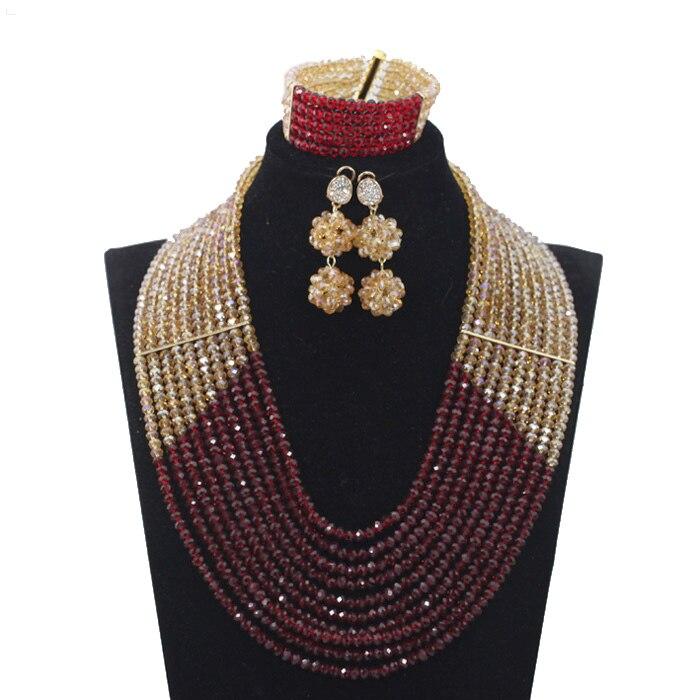 Derniers nouveaux invités de mariage perles africaines ensembles de bijoux Engagement Dubai or collier ensemble chaud livraison gratuite HX233 - 2