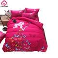 CARA CARLE Cartoon 4pcs Bedding Set Butterfly Girl Duvet Cover Bed Sheet Children Kids Bed Linen housse de couette