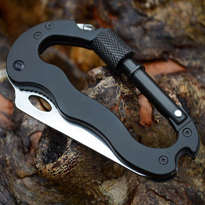 Pocket Multi Tool Aluminum Carabiner Tactical Knife Buckle Hooks Outdoor Sports Camping Climbing Self-defense defensa personal