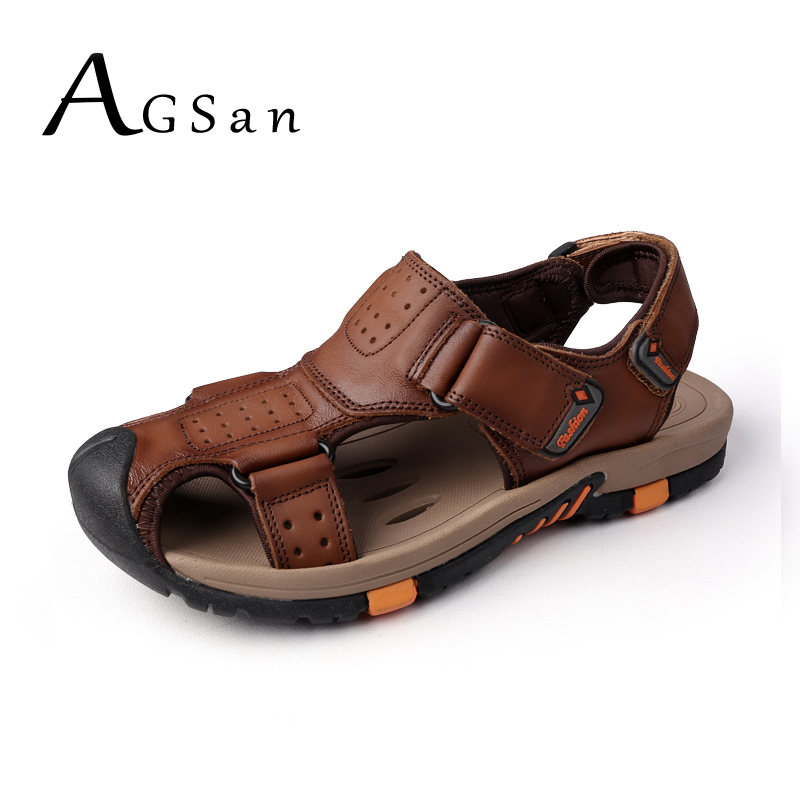 AGSan Mens Sandals Genuine Leather Summer 2018 Beach Men Casual Shoes Outdoor Sandals Plus Size 38-45 Leisure Leather Slippers