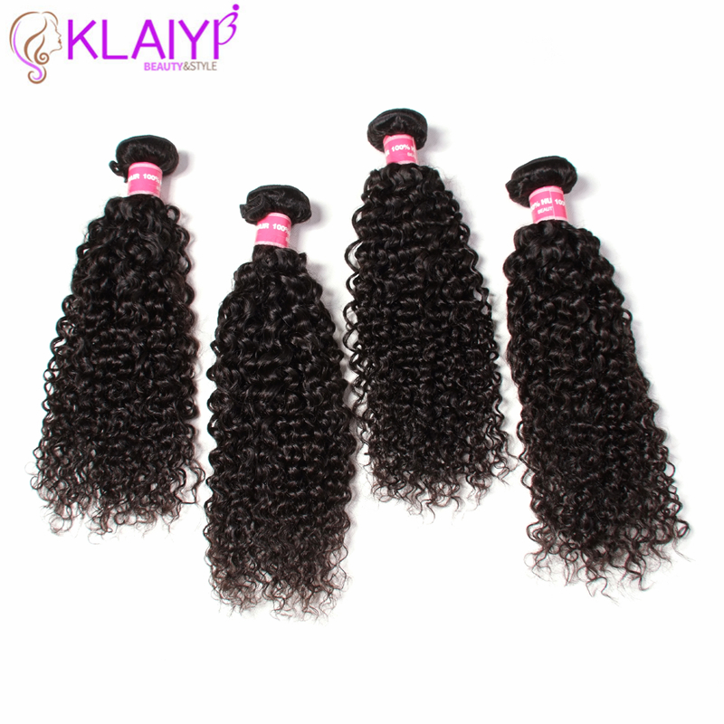 KLAIYI Hair Peruvian Remy Hair Weft 8-26 Inch Bundles Curly Weave 100% Human Hair Natural Black Color Can Be Dyed 4Pcs/lot
