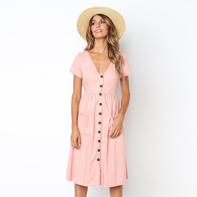 73fb5a6be24 Women Summer Dresses 2019 Short Sleeve V-Neck Midi Dress with Pockets  Casual Button Beach