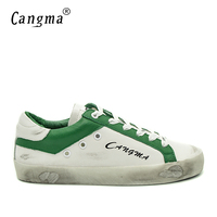 CANGMA Italian Designer Casual Vintage Shoes Mens White And Green Breathable Genuine Leather Flats Elegant Male