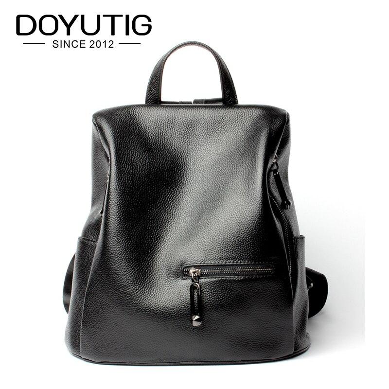DOYUTIG ของแท้หนังกระเป๋าเป้สะพายหลังสีดำวัวจริงหนังกระเป๋าแฟชั่นผู้หญิงสีดำกระเป๋าเป้สะพายหลัง E154-ใน กระเป๋าเป้ จาก สัมภาระและกระเป๋า บน   1