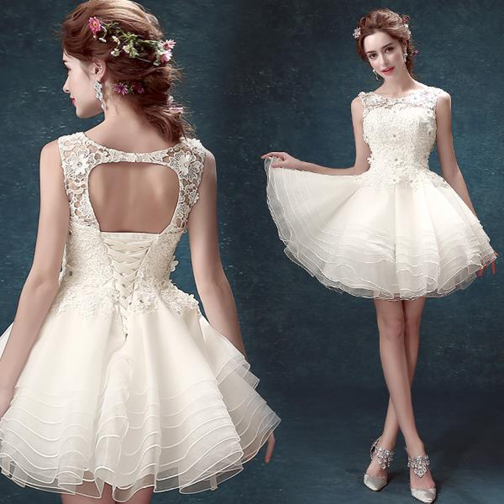 Buy fashion 2016 white short ball gown for Cute short white wedding dresses