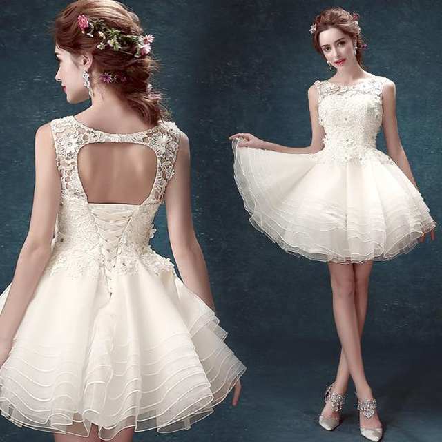 Fashion 2016 White Short Ball Gown Wedding Dresses Cute Sleeveless Backless Lace Mini Dress Plus