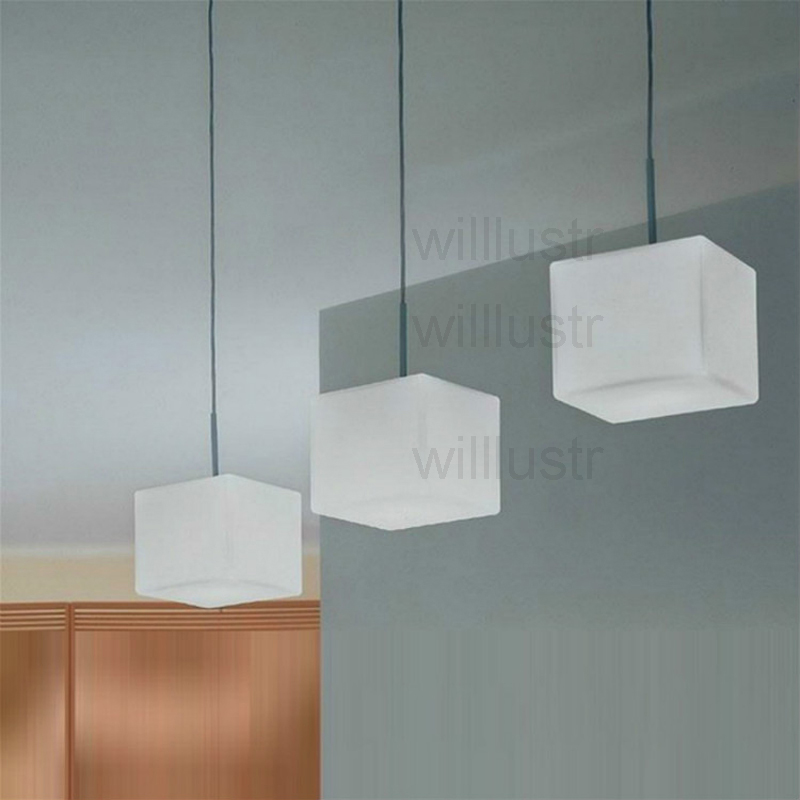 itre lighting modern cubi pendant lamp milk white cubic glass cube suspension light dinning room restaurant hotel office italy design lightingin lights from
