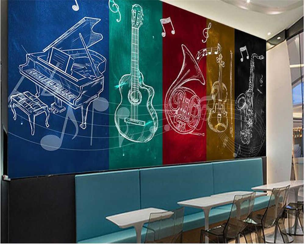 Обои на заказ, 3d, Европейский, ручная роспись, музыкальные инструменты, музыкальный плакат, персональный бар, кафе, Креативные 3d обои