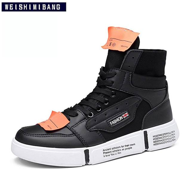 02797fa4d2bbf US $32.89 45% OFF|WEISHIMIBANG New Arrival Men High Top Casual Shoes  Fashion Forward Trending Leisure Shoes Man White Ankle Boot Chaussure 39  44-in ...
