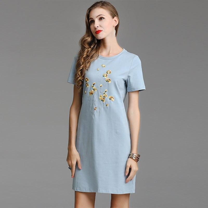 Haut de gamme style chinois floral été femmes folk-personnalisé robe de passerelle robes de broderie élégant Slim dames mode robe S-XXL
