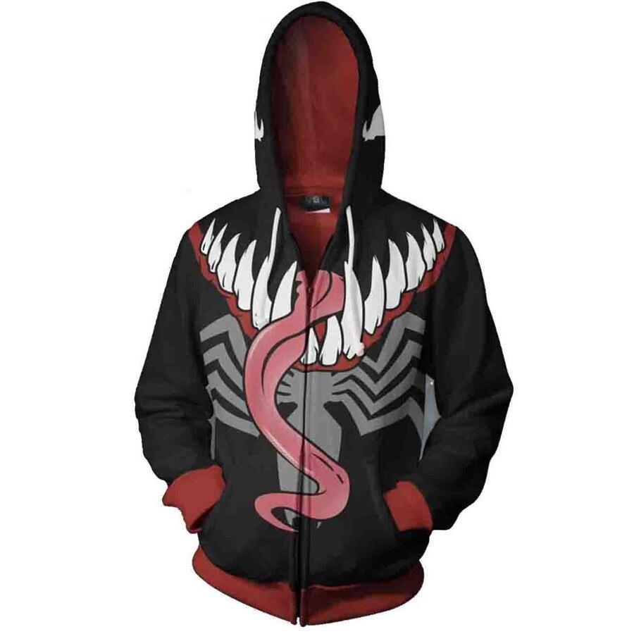 Spiderman Venom cosplay costume Hoodies Anime 3D hoodies Men Women Sweatshirts Jackets