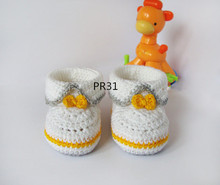 White Grey yellow crochet baby booties, baby girl and boy booties, shoes with yellow for gift