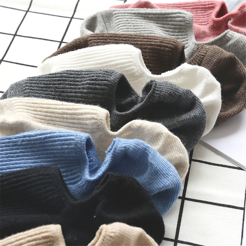 2019 Early Autumn Solid Color Shallow Boat Socks Silicone Anti-Skid Stealth Socks Female Thin Women Sock Slippers
