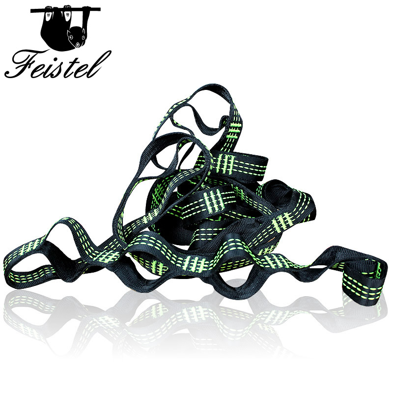 Green Three Line Hammock Straps Rope Accessories Load 2000KG Strong