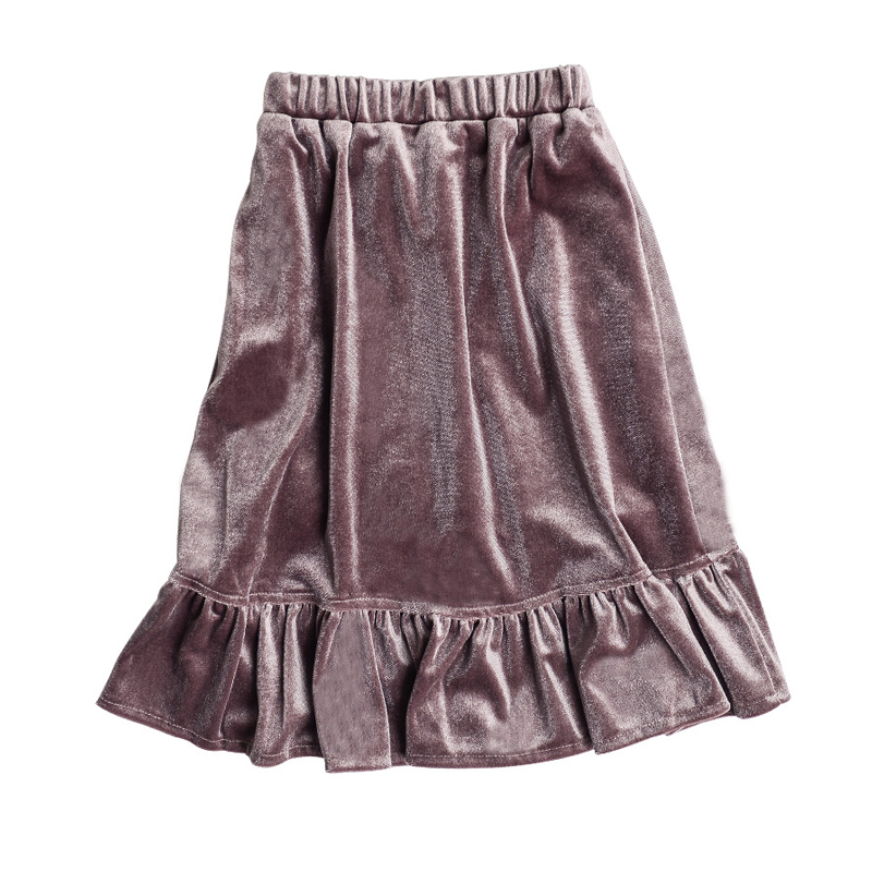 velvet long skirt for 3- 10 yrs girls 2019 spring kids clothes fashion shine school baby girl skirt autumn simple children skirt girl