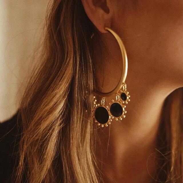 AENSOA Enamel Red Round Tassel Pendant Big Round Hoop Earrings For Women Fashion 2019 Large Gold.jpg 640x640 - Large Gold Circle Sun Shape Party Earrings