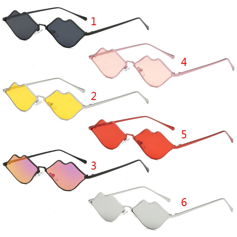 Lips Shape Sunglasses Women Sexy Mouth Sun Glasses Clear Color Metal Frame Eyewear Party Ladies Cateye Small NoEnName_Null