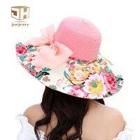 Joejerry Flower Large Brim Beach Straw Hat Floppy Bow Summer Hats For Women Girls UV