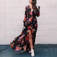 Newest Style 2018 Summer Autumn Boho Style Women Long Dress Floral Print Vintage Chiffon Elegant Dress