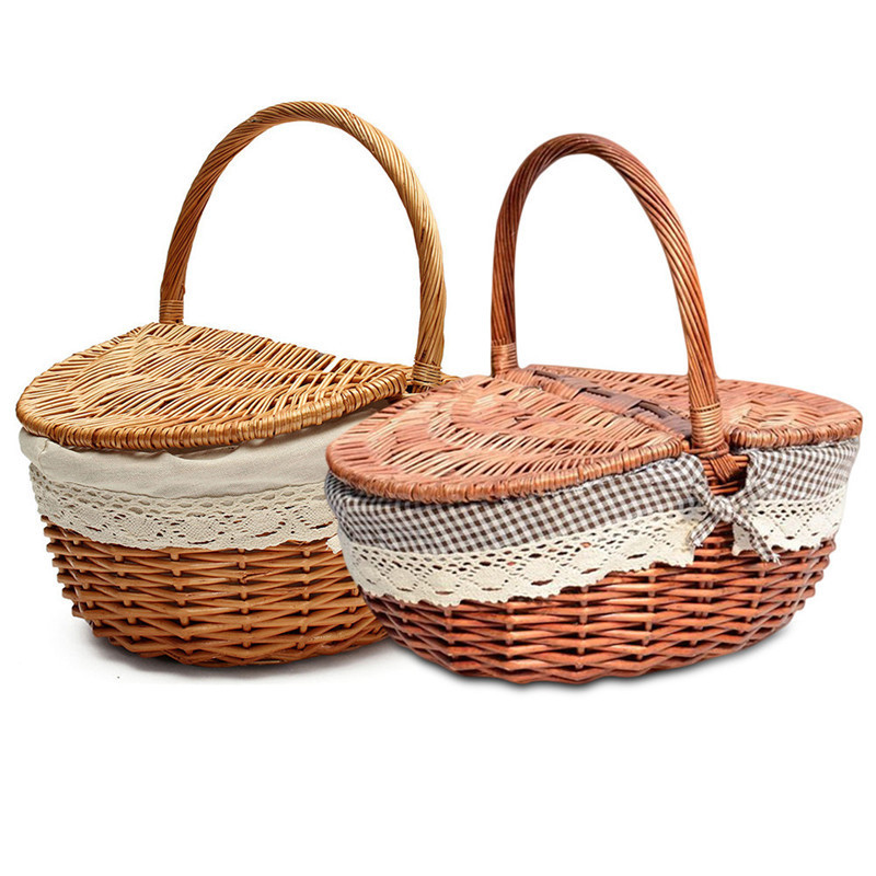 Willow Wicker Storage Basket Hamper Handles Natural Wooden: Hand Made Wicker Basket Wicker Camping Picnic Storage