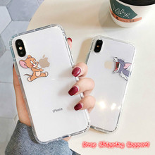 Aertemisi Phone Cases Funny Cute Cartoon Tom Jerry Case Clear TPU Cover for iPhone  6 6s 7 8 Plus X XR Xs Max