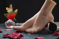 Un par realista Flexible de silicona suave maniquí femenino del pie del calcetín Display