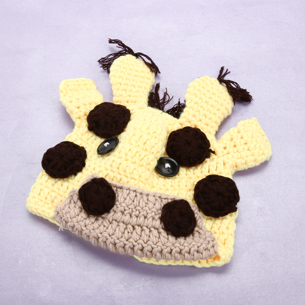 Newborn Photography Props Baby Girls Boys Crochet Knit Costume Cute Animal Cow Photography Props Cattle Yellow