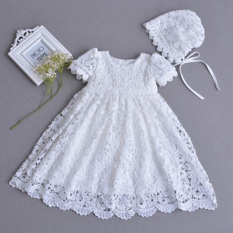cf8b642bad Do sprzedaży detalicznej niemowlę dziecko dziewczyna koronka długa długość sukienki  chrzest chrzciny suknia Tulle formalna pierwsze urodziny sukienka 0 30 ...