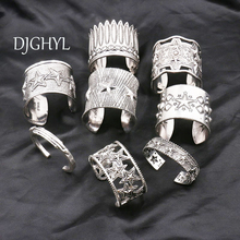 New punk Jewelry Big Open Wide Arm Cuff Bangle Bracelets For Women Boho Bohemia hollow silver Statement Bangles Armband