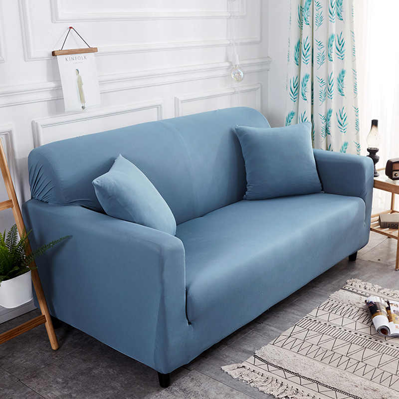 Plain Elastic Stretch Sofa Covers Polyester Spandex Fabric Arm Couch Sofa Slipcover Furniture Cover Single/Two/Three/Four-seater