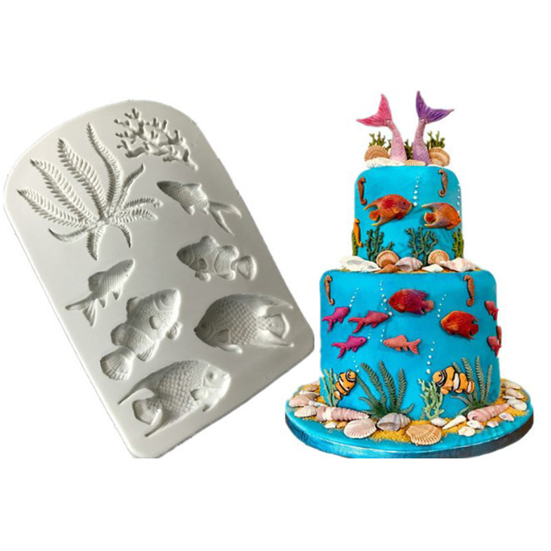 1pcs Fish Seaweed Silicone Mold DIY Cake Border Fondant Cake Decorating Tools Sea Coral Cupcake Chocolate Moulds