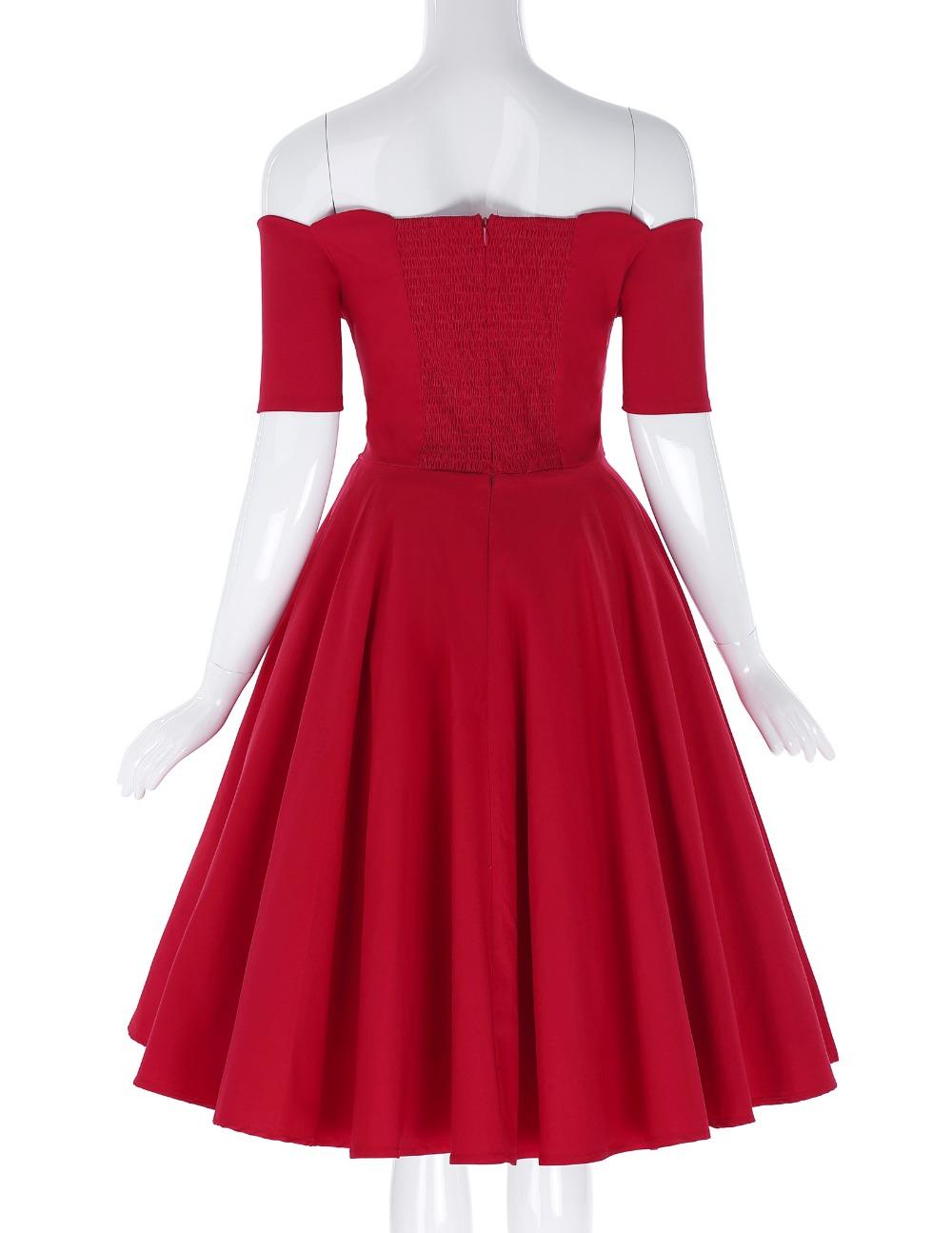 Belle Poque 17 Women Dress Robe Vintage Off Shoulder Black Summer Dress Jurken 1950s 60s Retro Rockabilly Swing Party Dresses 19